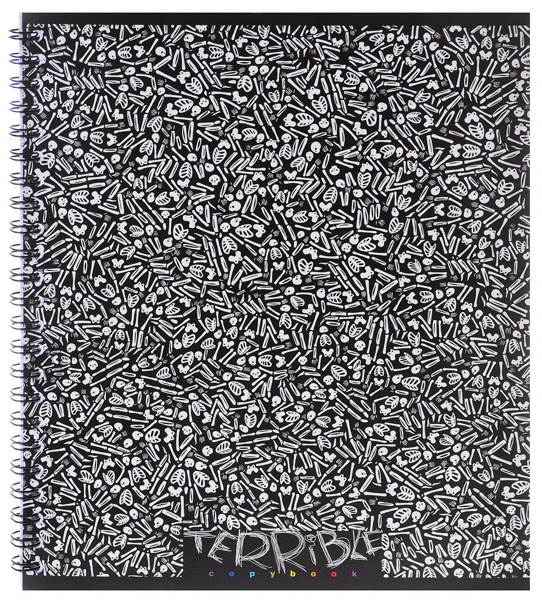 Полиграфика Тетрадь Terrible Book 60 листов в клетку35637_черный, скелетыТетрадь в клетку Полиграфика Terrible Book представлена в формате А5 в черно-белом картонном переплете. Внутренний блок состоит из 60 листов со стандартной линовкой в клетку без полей на металлическом гребне. Такое практичное и надежное крепление позволяет отрывать листы и полностью открывать тетрадь на столе. Вне зависимости от профессии и рода деятельности у человека часто возникает потребность сделать какие-либо заметки. Именно поэтому всегда удобно иметь эту тетрадь под рукой, особенно если вы творческая личность и постоянно генерируете новые идеи.