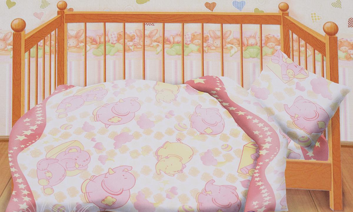 Кошки-мышки Комплект детского постельного белья Спокойной ночи желтый розовый262027Комплект детского постельного белья Кошки-мышки Спокойной ночи, состоящий из наволочки, простыни и пододеяльника, выполнен из натурального 100% хлопка. Пододеяльник оформлен рисунком в виде забавных слоников и мишек. Хлопок - это натуральный материал, который не раздражает даже самую нежную и чувствительную кожу малыша, не вызывает аллергии и хорошо вентилируется. Такой комплект идеально подойдет для кроватки вашего малыша. На нем ребенок будет спать здоровым и крепким сном.