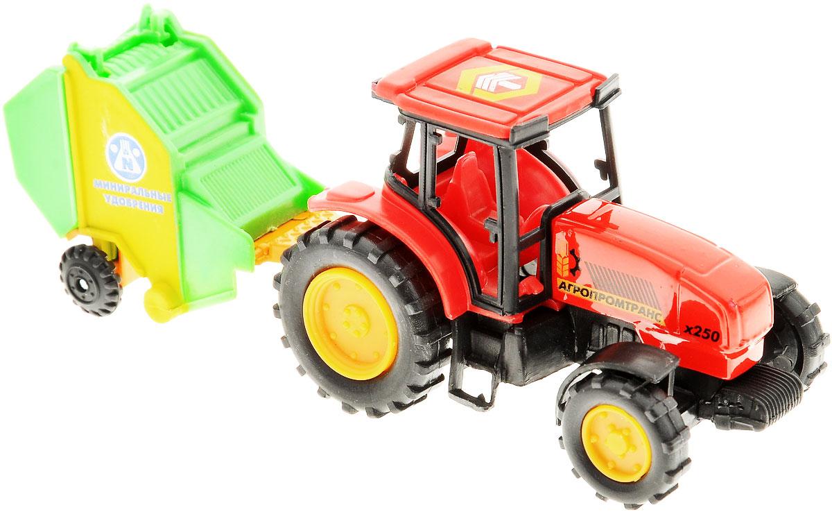 ТехноПарк Коллекционная модель Трактор с прицепом Минеральные удобрения20219-R_минеральные удобренияТрактор ТехноПарк, изготовленный из прочного безопасного материала, станет любимой игрушкой вашего малыша. Игрушка представляет собой модель трактора красного цвета и прицеп в виде желто-зеленого контейнера с надписью Минеральные удобрения. Прицеп может с легкостью отсоединяться от трактора. Трактор отлично подойдет для игр ребенка дома или на свежем воздухе. Ребристые колеса трактора обеспечивают прочное сцепление с дорогой, не давая скользить технике по полу. Удивите своего маленького водителя новой современной техникой! Такая игрушка, несомненно, обрадует малыша и принесет ему уйму ярких впечатлений. Ваш ребенок сможет прекрасно провести, воспроизводя сельскохозяйственные работы. Собери целую коллекцию техники ТехноПарк!