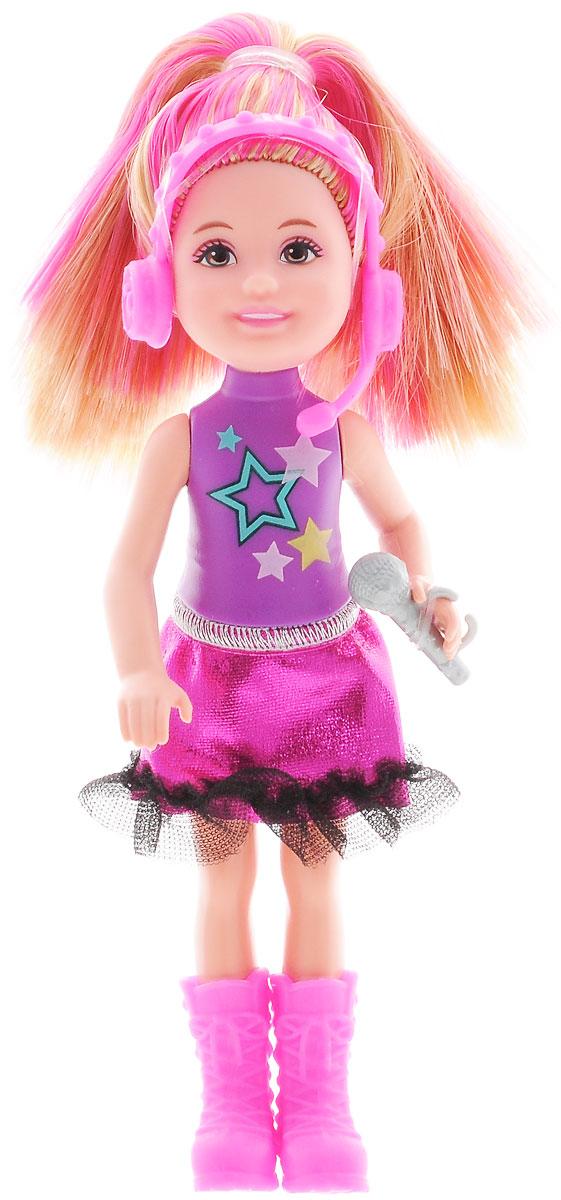 Barbie Мини-кукла Рок-принцесса с микрофономCKB68_CKB71Мини-кукла Barbie Рок-принцесса порадует вашу малышку и доставит ей много удовольствия от часов, посвященных игре с ней. Она выполнена из прочного высококачественного пластика в виде принцессы с микрофоном. Одета кукла в фиолетовый топ и розовую блестящую юбку, а на ногах - розовые сапоги. Вашей дочурке непременно понравится расчесывать и заплетать волосы куклы, придумывая различные прически. Руки, ноги и голова куклы подвижны, благодаря чему ей можно придавать разнообразные позы. Игры с куклой способствуют эмоциональному развитию ребенка, а также помогают формировать воображение и художественный вкус. Малышка проведет множество счастливых часов, играя с красавицей Барби.