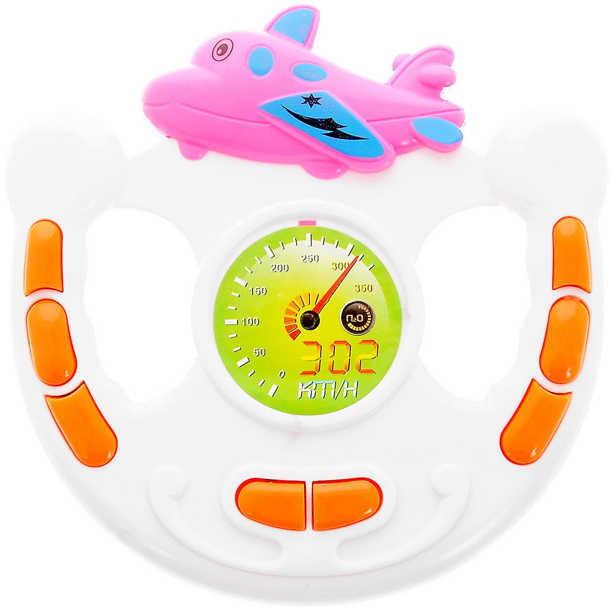 Bestценник Развивающая игрушка РульСС75443Развивающая игрушка Музыкальный руль, выполненный в ярких тонах, привлечет внимание вашего ребенка и не позволит ему скучать. Руль изготовлен из прочного высококачественного пластика. По краям игрушки имеются музыкальные кнопки оранжевого цвета, при нажатии на которые воспроизводятся разнообразные звуки. В центре игрушки бумажный круг с нарисованной шкалой скорости. Вверху руля расположена фигурка симпатичного розового самолетика. Игрушка развивает концентрацию внимания, координацию, цветовое восприятие, моторику и слух. Для работы требуются 2 батарейки типа АА (не входят в комплект).