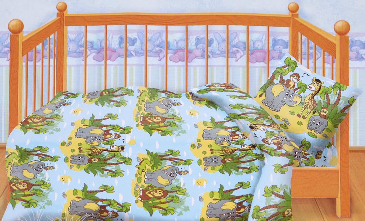 Кошки-мышки Комплект детского постельного белья Африка231601Комплект детского постельного белья Кошки-мышки Африка, состоящий из наволочки, простыни и пододеяльника, выполнен из натурального 100% хлопка. Пододеяльник оформлен рисунком в виде веселых зверушек на острове. Хлопок - это натуральный материал, который не раздражает даже самую нежную и чувствительную кожу малыша, не вызывает аллергии и хорошо вентилируется. Такой комплект идеально подойдет для кроватки вашего малыша. На нем ребенок будет спать здоровым и крепким сном.