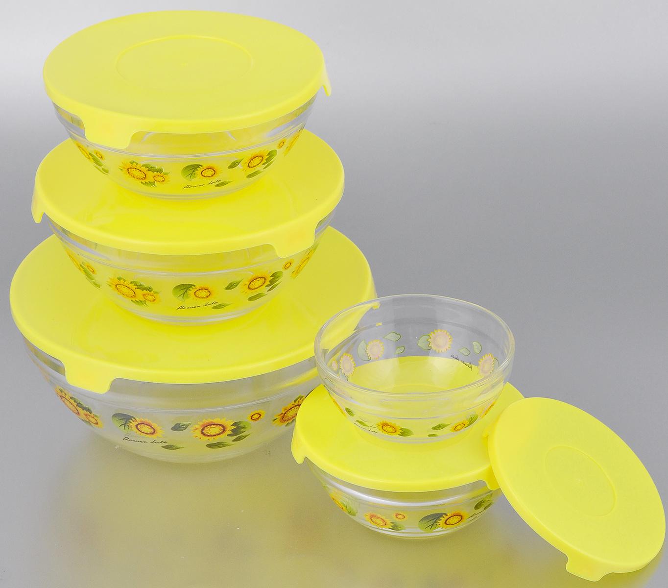 Набор салатниц Loraine с крышками, цвет: прозрачный, желтый, 10 предметов331Набор Loraine, состоящий из пяти салатниц разного объема с крышками, сочетает в себе изысканный дизайн с максимальной функциональностью. Изделия выполнены из высококачественного стекла и оформлены цветочным рисунком. Салатницы снабжены плотно закрывающимися крышками, оснащенные тремя специальными язычками для удобного открывания. Такой набор прекрасно подходит для хранения продуктов и соусов без проливания. Можно мыть в посудомоечной машине. Объем салатниц: 150 мл, 250 мл, 420 мл, 600 мл, 1,1 л. Диаметр салатниц по верхнему краю: 9 см, 10,2 см, 12,5 см, 13,6 см, 17 см. Высота стенок салатниц: 4 см, 5 см, 5,5 см, 6,5 см, 8 см. Толщина стенок салатниц: 2 мм.