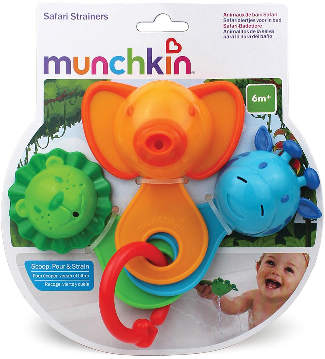 Munchkin Игрушка для ванной Веселые ситечки цвет оранжевый11964_оранжевыйИгрушка для ванны Munchkin Веселые ситечки непременно понравится вашему ребенку и превратит купание в веселую игру! Игрушка состоит их трех разноцветных ковшиков-животных, соединенных на пластиковое кольцо. В каждой игрушке есть маленькие дырочки, через которые так интересно переливать воду. Игрушка развлекает малыша во время купания и в то же время знакомит его с окружающим миром - ребенок с удовольствием будет зачерпывать и просеивать воду, наблюдая, как только что полный ковшик снова становится пуст. Игрушки для ванны способствует развитию воображения, цветового и звукового восприятия, тактильных ощущений и мелкой моторики рук.