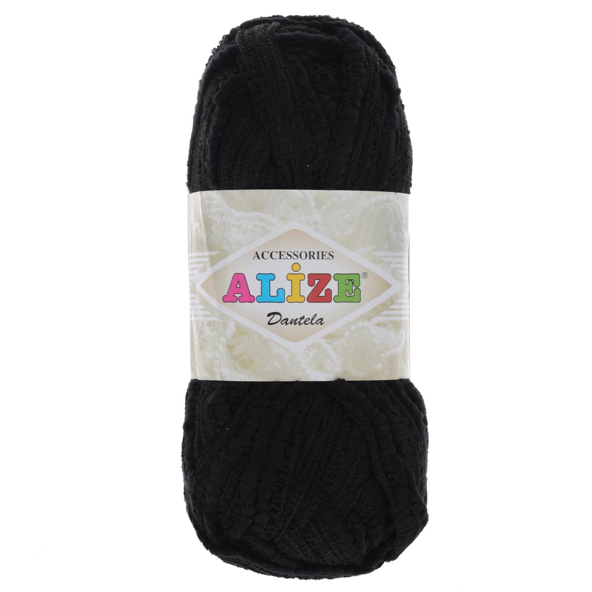 Пряжа для вязания Alize Dantela, цвет: черный (60), 24 м, 100 г, 5 шт364132_60 черныйПряжа для вязания Alize Dantela изготовлена из акрила с добавлением полиамида. Акрил придает практичности, поэтому вещи из этой пряжи не деформируются после стирки и в процессе носки. Пряжа ленточная, выполнена в виде ажурной ленты-сетки. Имеет однотонный окрас, легкая и мягкая. Окрашена стойкими качественными красителями, не линяет. Отлично подходит для создания воланов и рюш. Из этой пряжи можно создать праздничный образ - эффектные, нежные, воздушные платья, топы, различные аксессуары, сумочки, шарфы. Также используется для отделки готовых изделий, выполненных из других видов пряжи. 1 мотка пряжи хватит на изготовление одного легкого шарфика! Рекомендуются спицы: 5-12 мм. Состав: 16% полиамид, 84% акрил. Ширина нити: 1,5 см.