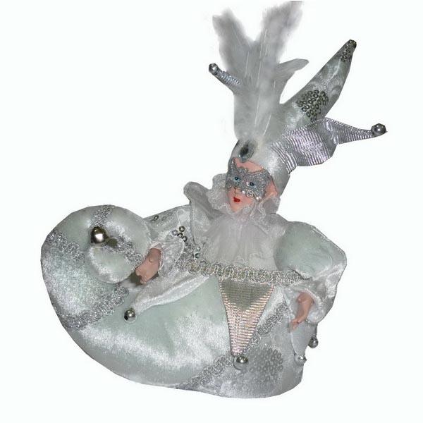 Игрушка музыкальная Winter Wings Шут в сапожке, высота 25 смN069627_белМузыкальная игрушка Winter Wings Шут в сапожке станет красивым украшением интерьера в преддверии Нового года. Игрушка представляет собой шута в сапожке, изготовлена из керамики и полиэстера. Шут одет в кофту с пышным воротником и рукавами, на лице - маска, а на голове - колпак, декорированный перьями, большим камнем, пайетками и бубенчиком. Сапожок украшен тесьмой и бусинами. Игрушка музыкальная, с задней стороны расположен заводной механизм, при его включении издается приятная мелодия, и шут начинает двигаться. Такая игрушка станет не только украшением интерьера, но и приятным подарком, который придется по душе каждому.