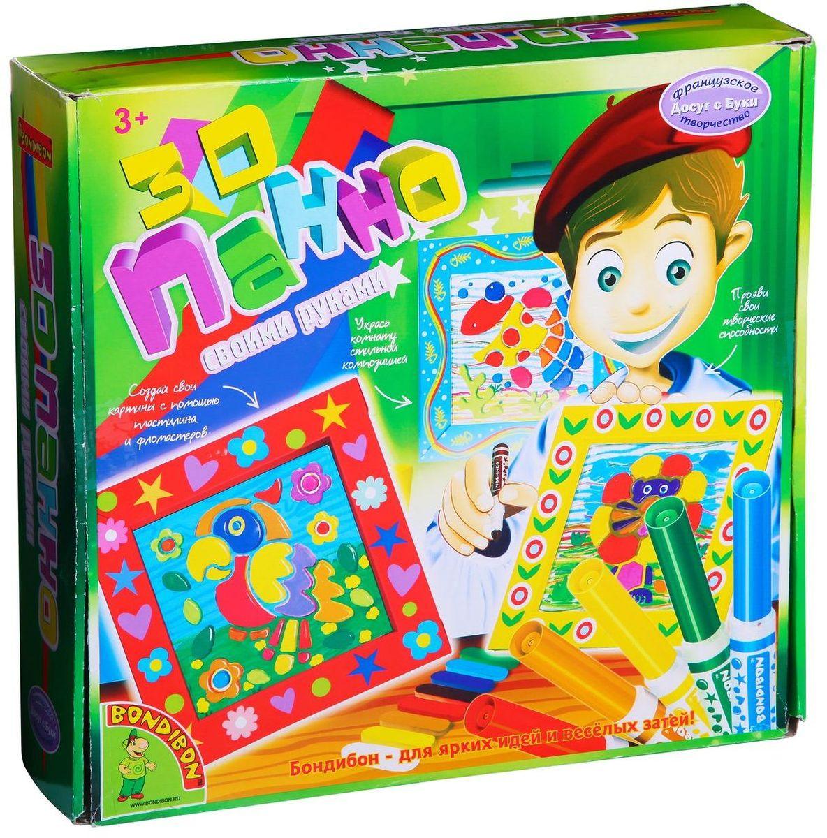 Bondibon Набор для творчества 3D панно-раскраскиВВ1204Увлекательный набор для творчества позволит вашему ребенку в полной мере проявить свои творческие способности, создав свои 3D панно с помощью трафаретов, шаблонов, пластилина и фломастеров. Как здорово украсить свою комнату красивым объемным панно! Сделать это совсем не сложно: яркие фломастеры, цветной пластилин, немного усидчивости, внимания и творческого воображения – вот и все, что понадобится дошкольнику, чтобы создать красочную 3D-картинку в симпатичной рамочке. Набор для создания 3D-панно отлично развивает фантазию и художественный вкус малыша, помогает ему освоить навыки рисования и лепки. Такое панно станет эффектным украшением детской комнаты, а для родителей ребенка или его друзей эта красивая объемная картинка будет приятным подарком.