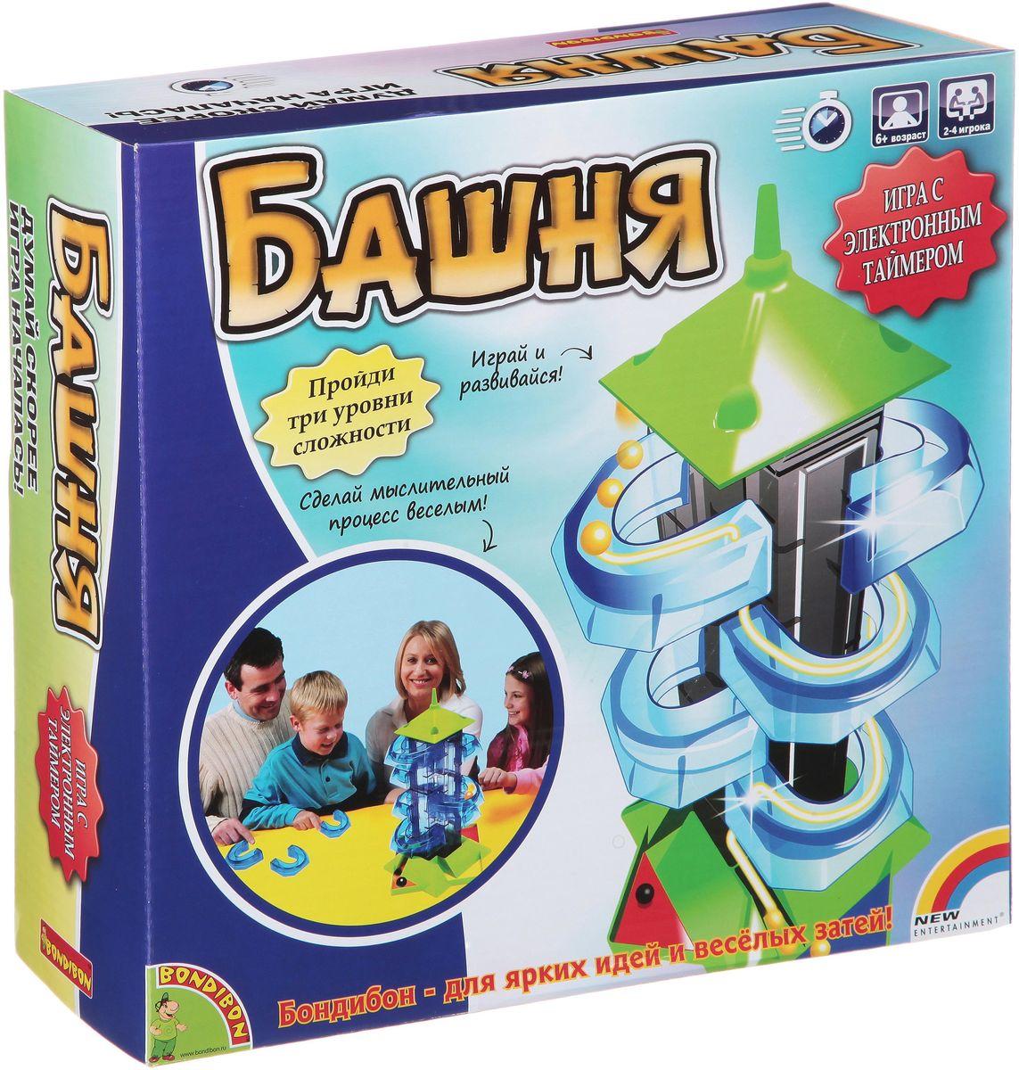 Bondibon Развивающая игра БашняВВ1405Самыми интересными играми являются те, в которые можно играть семьей или компанией друзей. Игра Башня относится именно к таким играм, которые совмещают в себе мыслительный процесс и прекрасное развлечение! Суть игры очень проста: каждый игрок должен выбрать один из четырех цветов на основании башни и расположить на башне специальные балконы. После чего все игроки запускают шарики с самого верха башни и помогают им преодолеть все балконы. Не забывайте – в игре присутствует электронный таймер, и игрокам необходимо добавлять в игру шарики как можно быстрее! Победителем является игрок, набравший наибольшее количество очков. Эта игра станет замечательным поводом собраться всей семье вместе! Для игры вам потребуются 2 батарейки AAA/LR03 (не входят в набор).