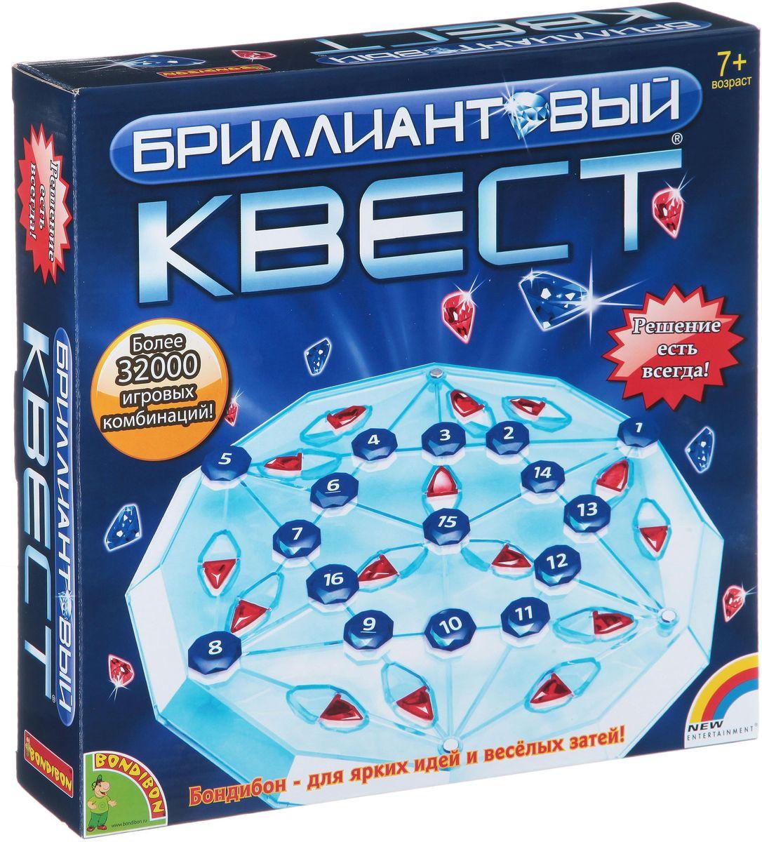 Bondibon Развивающая игра Бриллиантовый квестВВ1406Игра Бриллиантовый квест предназначена как для одного игрока, так и для компании. В этой игре предстоит на специальной шестигранной доске размещать пронумерованные магнитные камни в количестве 19 штук определенным образом: на точках пересечения линий и так, чтобы получилась непрерывная тропа! Игра требует большой внимательности и наличия пространственного мышления, и станет замечательным интеллектуальным развлечением – как для детей, так и для взрослых! А наличие огромного количества игровых комбинаций никогда не даст заскучать!