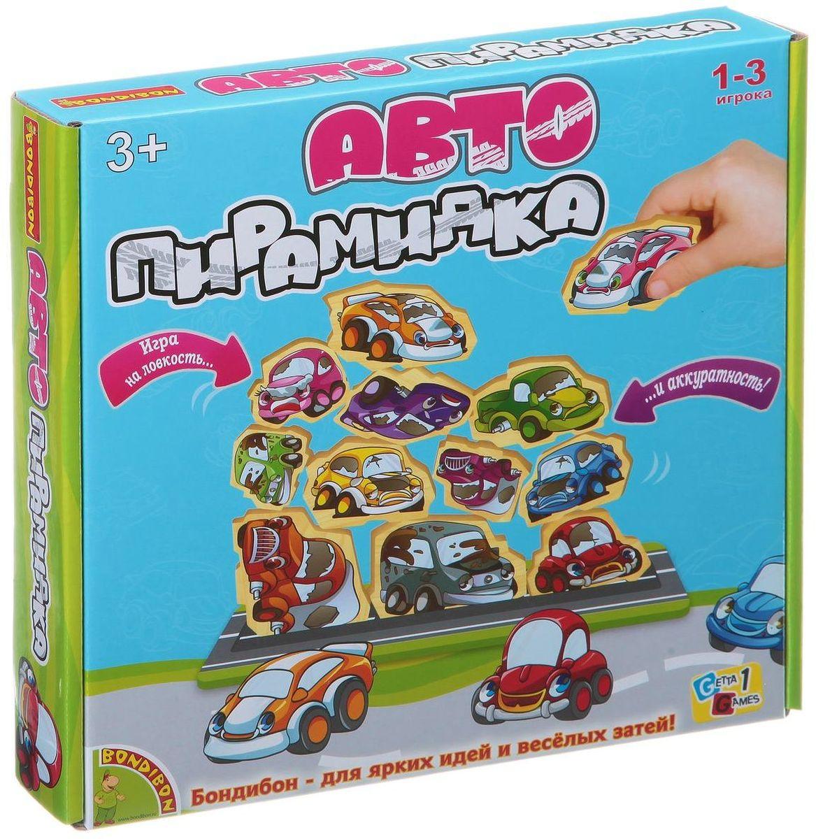 Bondibon Развивающая игра АвтопирамидкаВВ1449Игры-пирамидки бывают разные: в одних предстоит пирамиду строить, а в других – разрушать. В игре Bondibon Автопирамидка, предназначенной для самых маленьких ребят, необходимо составлять детали, имеющие вид разноцветных автомобильчиков, в пирамидку. Победителем является тот, кто первым поместит последнюю свою деталь на сложенной пирамидке так, чтобы на поле не упала ни одна деталь. Если при выполнении задания на поле падает хотя бы одна деталь, то ход переходит другому к другому игроку. Уронивший должен забрать все упавшие детали себе. Эта игра станет прекрасным развлечением для детей, а также поможет в развитии координации движений и мелкой моторики.