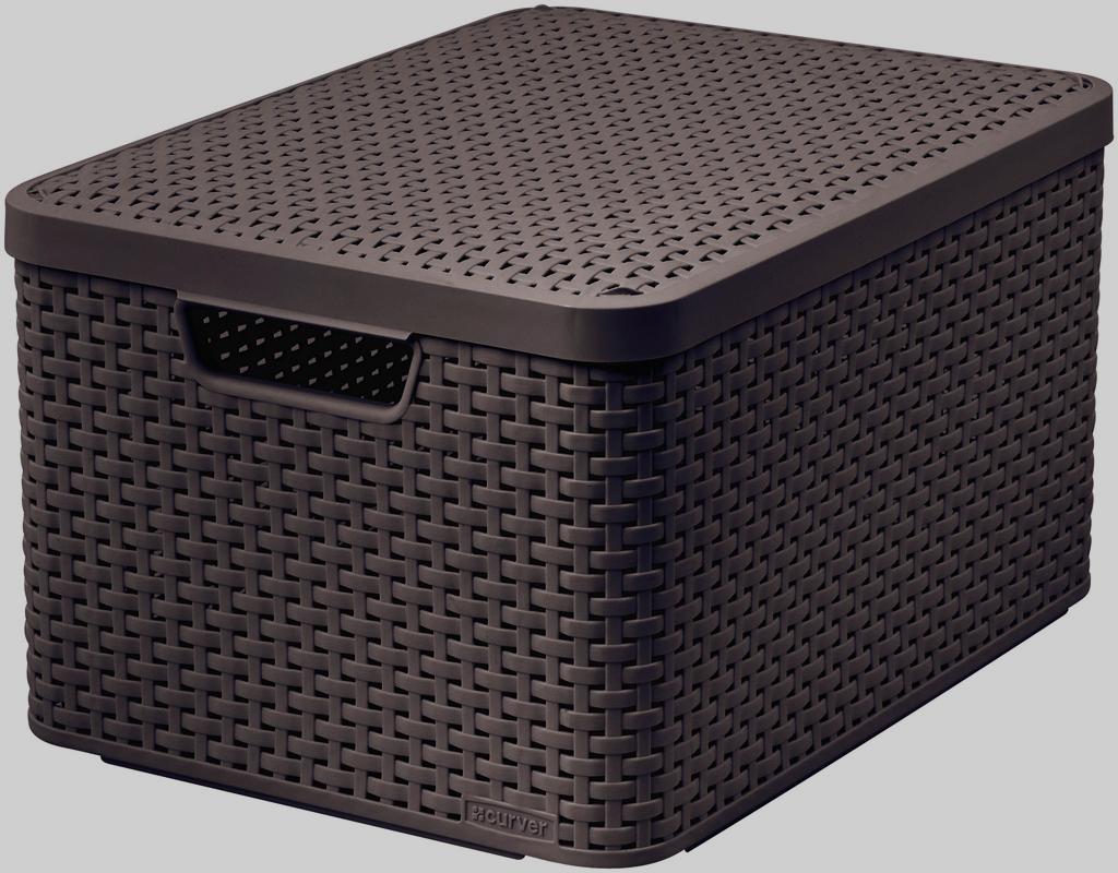 Корзина универсальная Curver Раттан, с крышкой, цвет: темно-коричневый, 44 см х 33 см х 24 см3619_тёмно-коричневыйПрямоугольная корзина Curver Раттан с крышкой изготовлена из прочного пластика. Идеально подойдет для хранения бытовых предметов в ванной, на кухне, даче или гараже. Позволяет хранить вещи, исключая возможность их потери. Корзина с отверстиями на стенках, крышке и со сплошным дном оснащена двумя ручками для удобной переноски.