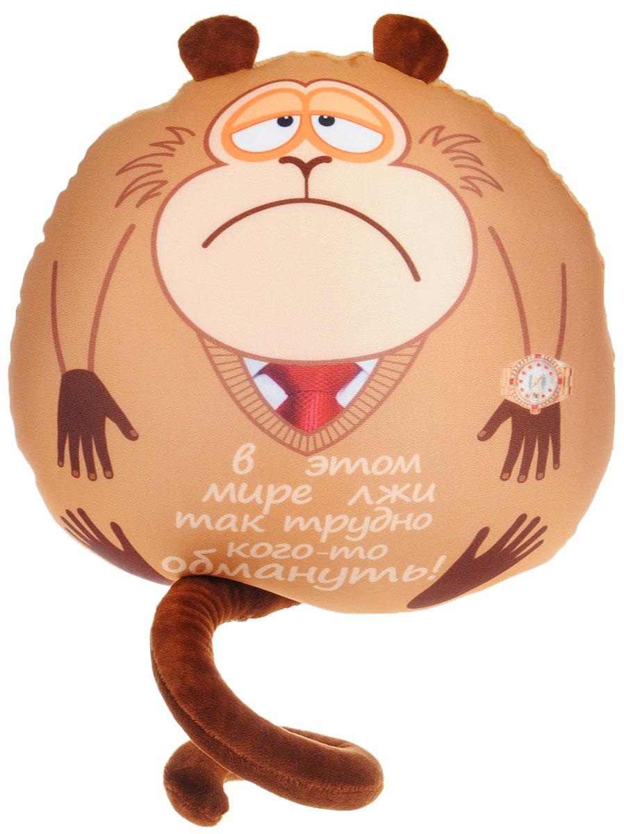 СмолТойс Мягкая игрушка-подушка Обезьянка Жужу с часами 28 см2932/БЖ-8/28Мягкая игрушка-подушка СмолТойс Обезьянка Жужу с забавной надписью способна стать аккумулятором хорошего настроения и отличным подарком для ваших близких или друзей. Помимо того, что антистрессовые подушки очень эффектны и красивы, они создают поистине волшебный релаксирующий эффект. Главный секрет - в наполнителе. Внутри подушки находятся тысячи мельчайших гранул полистирола (наполнителя высшего качества). Эти подушки легки, упруги и всегда хорошо выглядят, как бы вы их ни сжимали, они неизменно возвращают себе первоначальную форму. Оригинальный стиль и великолепное качество исполнения делают эту игрушку-подушку чудесным подарком к любому празднику.
