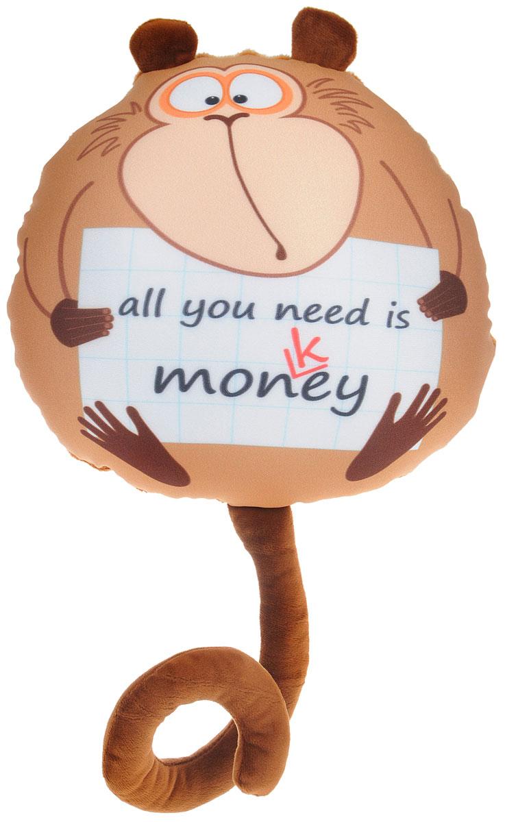 СмолТойс Мягкая игрушка-подушка Обезьянка Жужу с плакатом 28 см 2932/БЖ-2/28