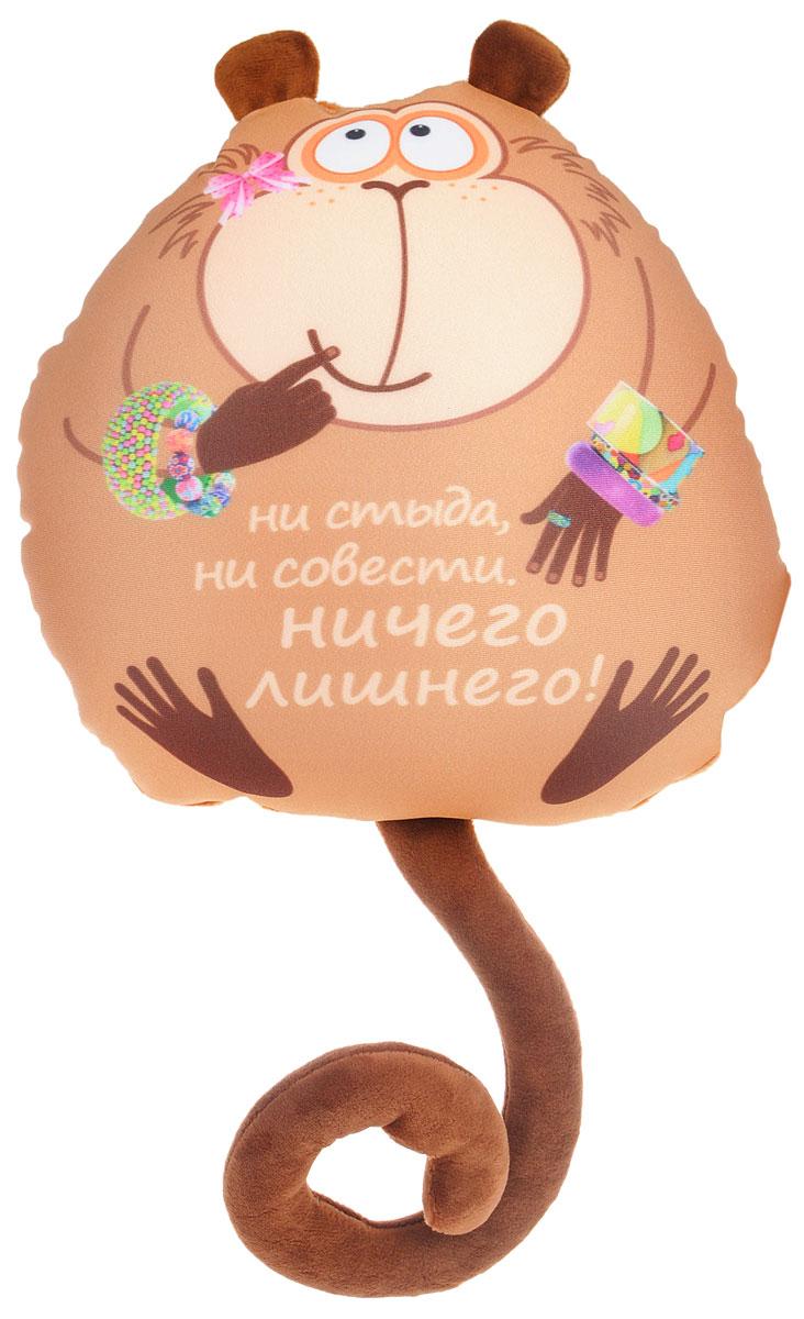 СмолТойс Мягкая игрушка-подушка Обезьянка Жужу с браслетами 28 см2932/БЖ-6/28Мягкая игрушка-подушка СмолТойс Обезьянка Жужу со смешной надписью способна стать аккумулятором хорошего настроения и отличным подарком для ваших близких и друзей. Помимо того, что антистрессовые подушки очень эффектны и красивы, они создают поистине волшебный релаксирующий эффект. Главный секрет - в наполнителе. Внутри подушки находятся тысячи мельчайших гранул полистирола (наполнителя высшего качества). Эти подушки легки, упруги и всегда хорошо выглядят, как бы вы их ни сжимали, они неизменно возвращают себе первоначальную форму. Оригинальный стиль и великолепное качество исполнения делают эту игрушку-подушку чудесным подарком к любому празднику.