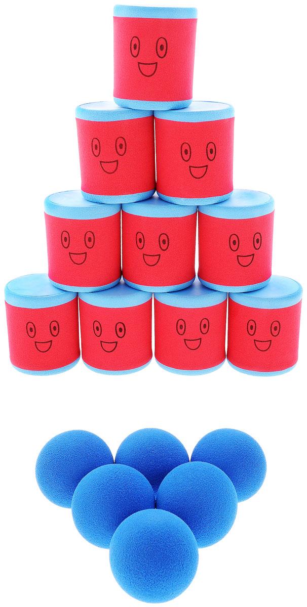 Safsof Игровой набор Городки цвет красный голубойAT-01N(B)_красный, голубойИгровой набор Городки, изготовленный из вспененного полимера, состоит из десяти ярких банок и шести мячиков. Цель игры: выбить как можно больше фигур, построенных из трех и более городков (банок), мячами с определенного расстояния. Каждый участник сбивает фигуру с одного и того же расстояния, на каждую фигуру дается три броска. Если игроку удается сбить фигуру с первого броска, он получает 3 балла, со второго - 2 и с третьего - 1. Выигрывает тот участник, который набирает большее количество баллов. Благодаря яркой расцветке и легкому и безопасному материалу, с этим набором можно играть не только на улице, но и дома. Набор поставляется в удобной пластиковой сумке с ручками.