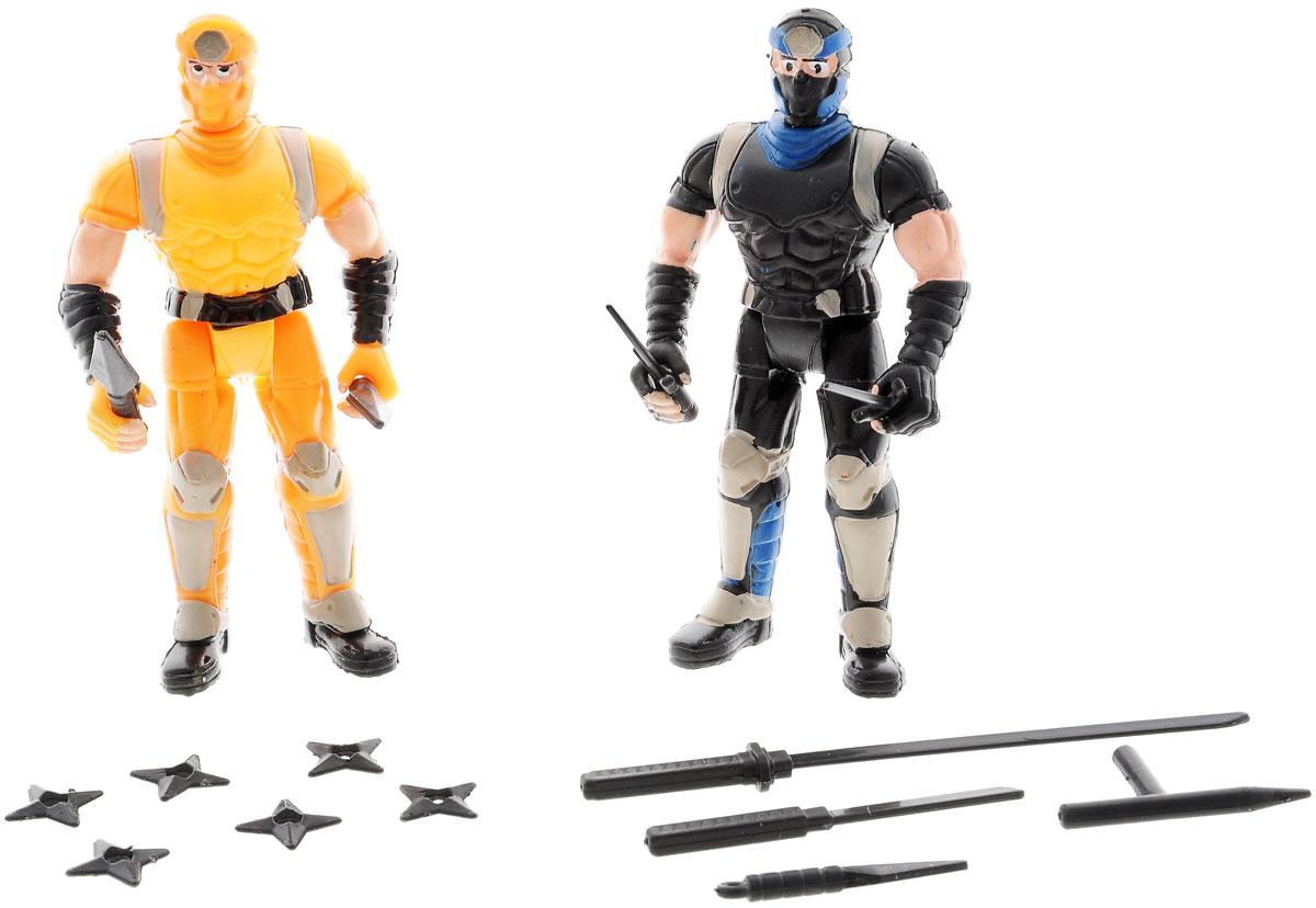 Manley Игровой набор Ninja Battle цвет оранжевый черный59222_желтый, черныйФигурки Ninja Battle из прочного пластика представлены в оранжевом и черном цвете. Фигурки представляют собой двух ниндзя в масках и боевой экипировке. Руки, ноги и голова у фигурок подвижны. В наборе имеется 14 видов разнообразного оружия, которое можно использовать в схватках с врагами. Ваш ребенок с удовольствием разнообразит свои игры фигурками Ninja Battle.