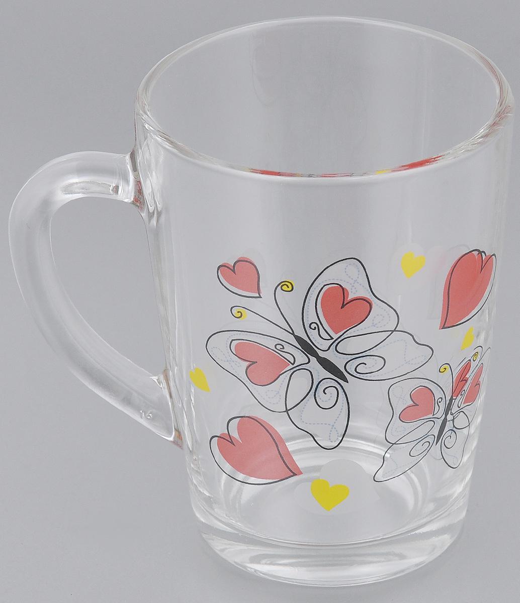 """Кружка OSZ """"Капучино. Бабочки с сердечками"""", цвет: прозрачный, красный, желтый, 300 мл"""