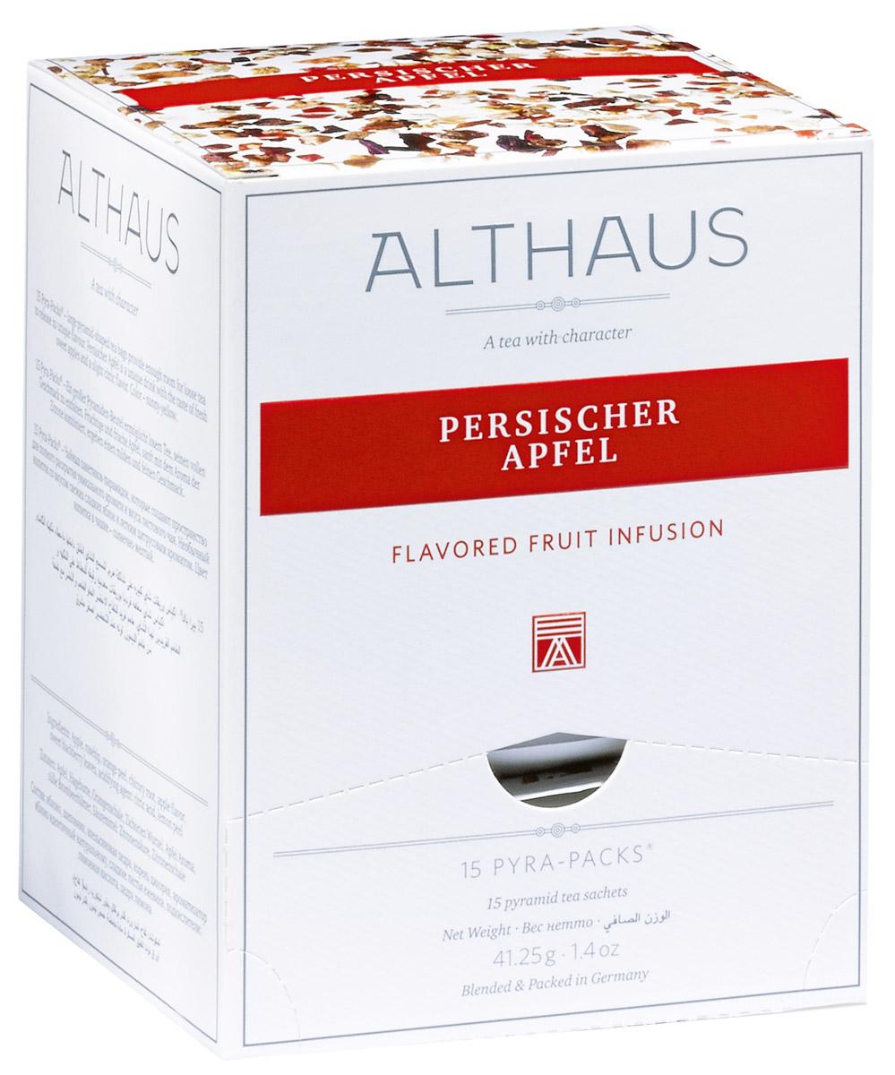 Althaus Persischer Apfel чайный напиток фруктовый в пирамидках, 15 штTALTHL-L00153Althaus Persischer Apfel - душистый напиток с ароматом сладкого яблочного пирога и полупрозрачными оттенками цитрусовых. Pyra-Pack - это коллекция из 13 купажей, в которую вошли лучшие сорта высококачественного листового чая, а также отборные смеси из цельных кусочков фруктов, ягод, цветочных лепестков, целебных трав. Pyra-Pack представляет собой инновационный вариант высокотехнологичной упаковки — нейлоновые пирамидки: Пакетики в форме пирамидок создают пространство для свободного распределения чаинок, тем самым повышая степень и скорость экстракции чая. Нейлон обладает отличной пропускной способностью, поэтому чай, заваренный в нейлоновых пирамидках, получается особо насыщенным по вкусу и ароматным. Пирамидки максимально упрощают процедуру заваривания чая, при этом сохраняя эстетический эффект традиционного чаепития.