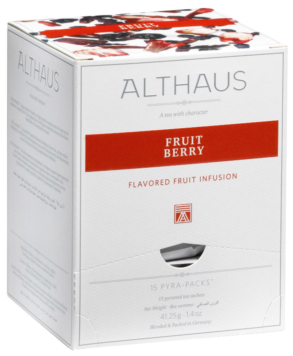 Althaus Fruit Berry чайный напиток фруктовый в пирамидках, 15 штTALTHL-L00150В Althaus Fruit Berry отборный египетский каркаде сочетается с теплым запахом домашнего варенья из садовых и лесных ягод - бузины, клубники и шиповника. Этот уникальный фруктовый чай обладает ярким ягодным ароматом с легким оттенком сухофруктов. При заваривании летняя сладость раскрывается в богатом букете со множеством выразительных нюансов, соблазнительном послевкусием клубники и дикой вишни. Pyra-Pack - это коллекция из 13 купажей, в которую вошли лучшие сорта высококачественного листового чая, а также отборные смеси из цельных кусочков фруктов, ягод, цветочных лепестков, целебных трав. Pyra-Pack представляет собой инновационный вариант высокотехнологичной упаковки - нейлоновые пирамидки: Пакетики в форме пирамидок создают пространство для свободного распределения чаинок, тем самым повышая степень и скорость экстракции чая. Нейлон обладает отличной пропускной способностью, поэтому чай, заваренный в нейлоновых пирамидках, получается особо...