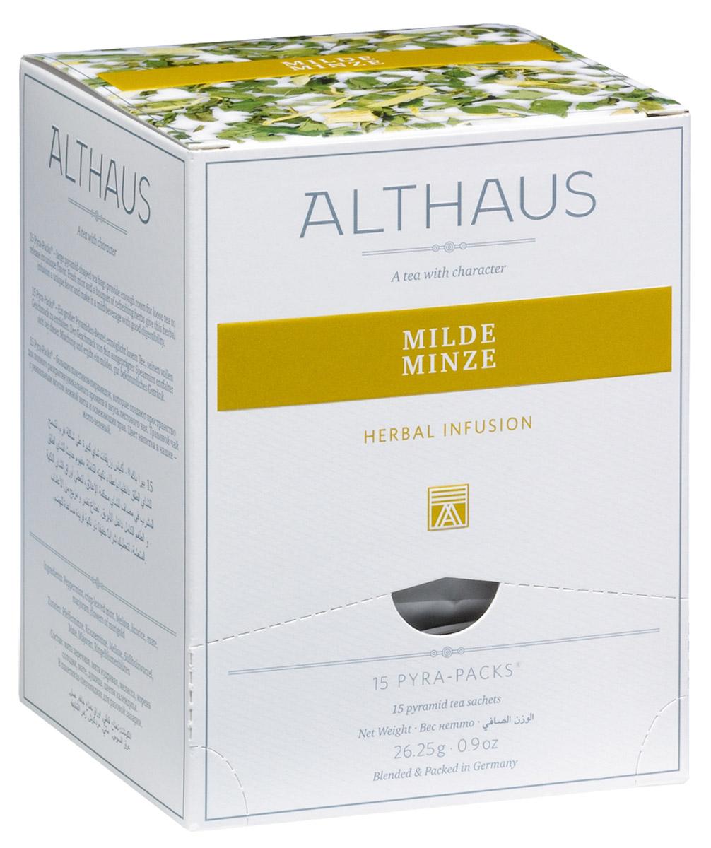 Althaus Milde Minze чайный напиток травяной в пирамидках, 15 штTALTHL-L00152Althaus Milde Minze - травяной купаж с пикантно-освежающим вкусом нежной сладкой мяты и целебных трав. Pyra-Pack - это коллекция из 13 купажей, в которую вошли лучшие сорта высококачественного листового чая, а также отборные смеси из цельных кусочков фруктов, ягод, цветочных лепестков, целебных трав. Pyra-Pack представляет собой инновационный вариант высокотехнологичной упаковки - нейлоновые пирамидки: Пакетики в форме пирамидок создают пространство для свободного распределения чаинок, тем самым повышая степень и скорость экстракции чая. Нейлон обладает отличной пропускной способностью, поэтому чай, заваренный в нейлоновых пирамидках, получается особо насыщенным по вкусу и ароматным. Пирамидки максимально упрощают процедуру заваривания чая, при этом сохраняя эстетический эффект традиционного чаепития.
