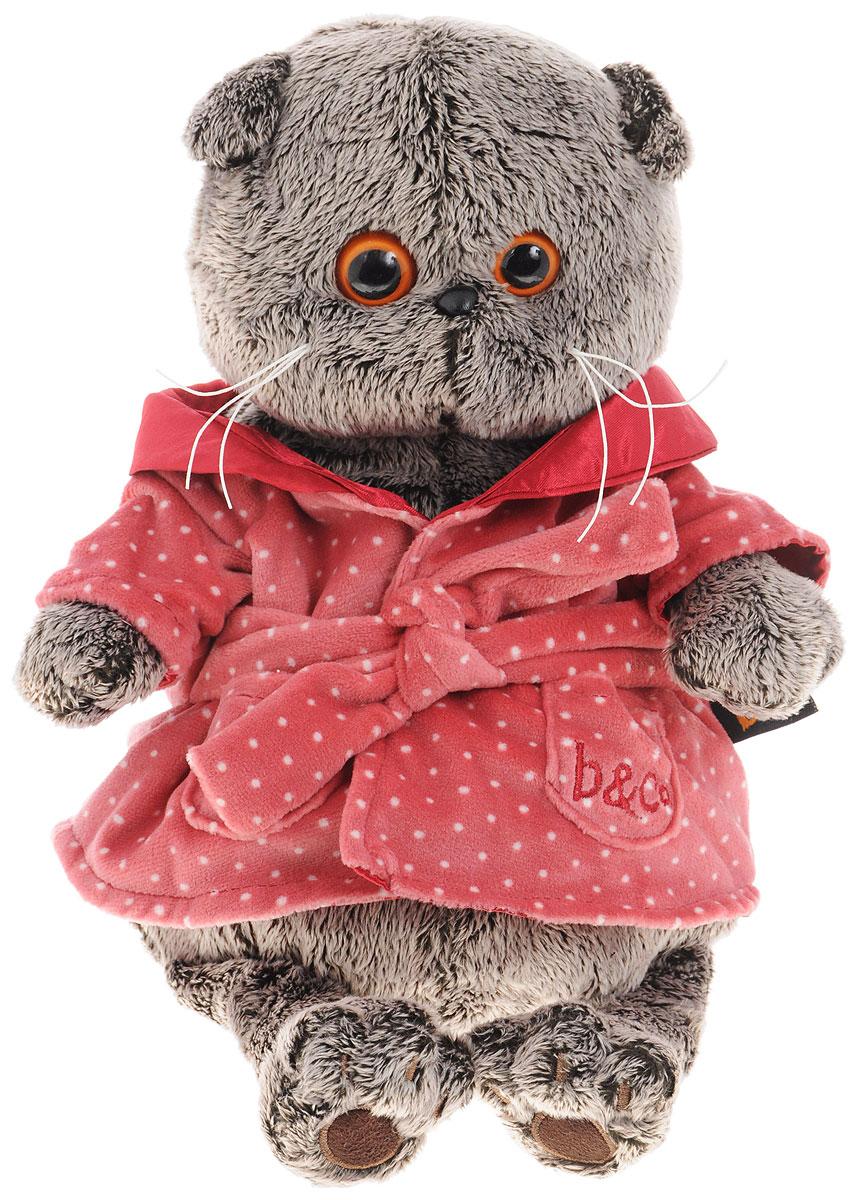 Мягкая игрушка Басик в халате 25 смKS25-026На Басике уютный домашний халат с воротничком-шалька и пояском. Халатик сшит из хлопка-интерлока карминно-розового цвета в мелкий белый горошек на подкладе из сатина глубокого вишневого цвета.