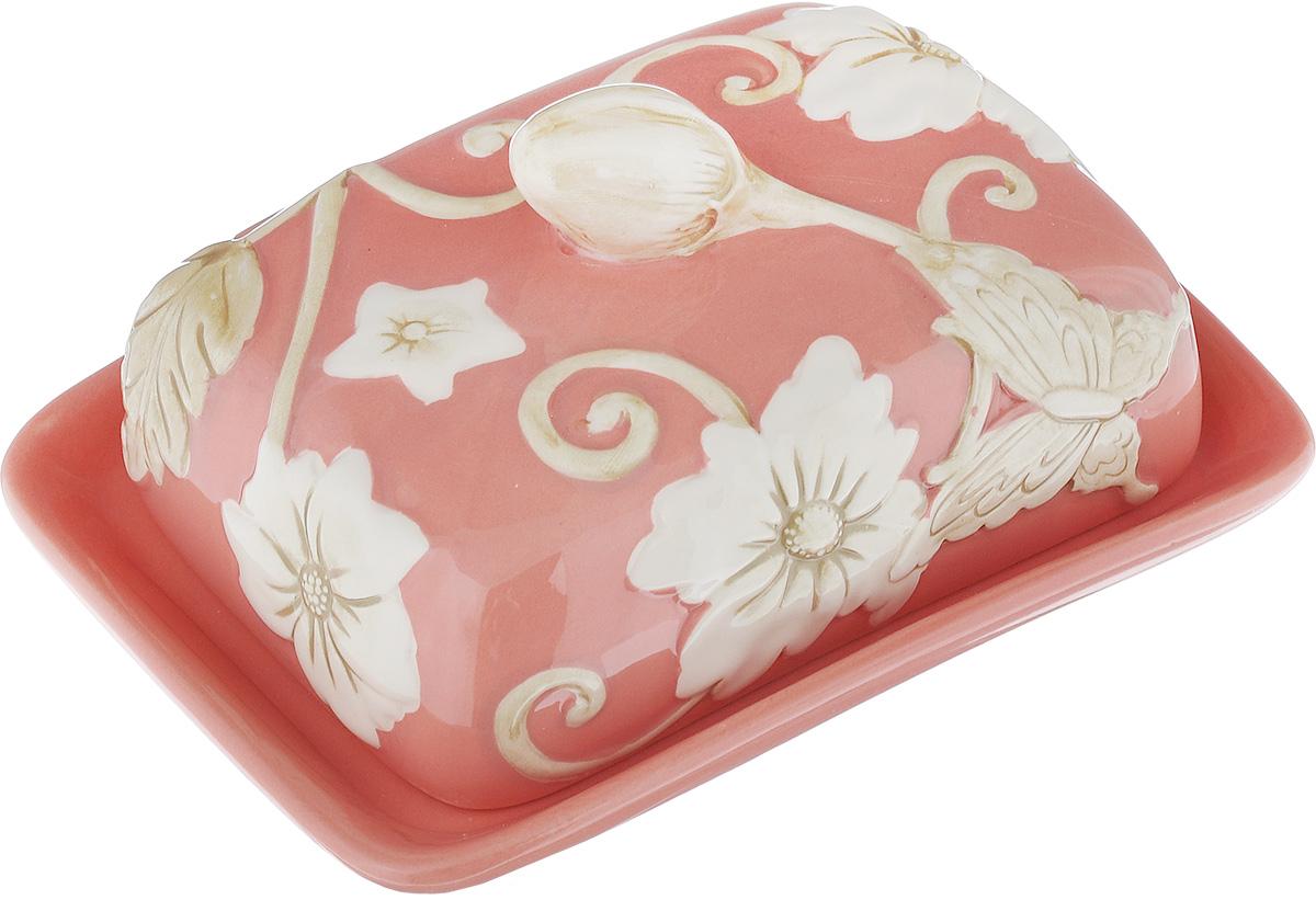 Масленка Mayer & Boch Розы. 2244422444Масленка Mayer & Boch Розы, выполненная из высококачественной керамики в виде подноса с крышкой, станет не заменимым помощником на вашей кухне. Изделие оформлено объемным изображением цветов и имеет изысканный внешний вид. Масленка предназначена для красивой сервировки стола и хранения масла. Можно мыть в посудомоечной машине, использовать в микроволновой печи и холодильнике. Размер подноса: 16,5 см х 12,5 см х 2,5 см. Высота масленки (с учетом крышки): 8 см.