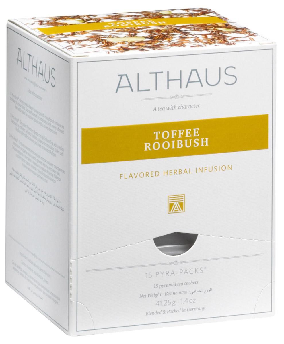 Althaus Toffee Rooibush чайный напиток травяной в пирамидках, 15 штTALTHL-L00148В замечательном десертном купаже Althaus Toffee Rooibush необычный, сладковато-древесный вкус отборного африканского чая гармонично дополняется нежным оттенком сливочной карамели тоффи и бархатистой горчинкой миндаля. Восхитительный букет амбровых ароматов, теплый и глубокий, приятно согревает вечерами и хорошо сочетается с изысканными десертами. Карамель тоффи появилась на севере Англии и стала особенно популярна в начале XIX века, когда снизилась цена на сахар и патоку, необходимые для ее приготовления. Тягучая мягкая сладость получила название toffee, которое происходит от английского слова tough со значением упругий, вязкий. Со временем в традиционный рецепт тоффи добавили знаменитые девонские сливки и миндаль, благодаря чему карамель приобрела еще более насыщенный и богатый вкус. Кусочки миндаля, входящие в состав, напоминают об утонченном английском лакомстве. Pyra-Pack - это коллекция из 13 купажей, в которую вошли лучшие сорта...