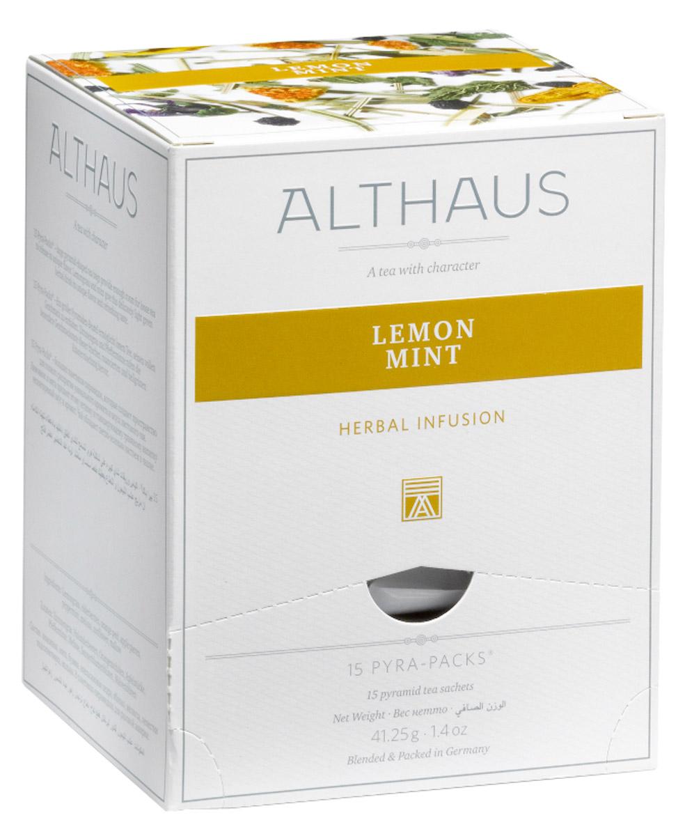 Althaus Lemon Mint чайный напиток травяной в пирамидках, 15 штTALTHL-L00147Лимонник и мята лежат в основе вкусового своеобразия оригинального напитка Althaus Lemon Mint. Все остальные компоненты — ягоды бузины, апельсиновая цедра, яблоко, мелисса, лепестки подсолнечника и мальвы — дополняют букет тонкими оттенками аромата и служат для создания яркого визуального эффекта. В этом купаже травянисто-цитрусовый вкус лимонника подчеркивается яркой освежающей нотой сладкой мяты и завершается пикантным имбирным оттенком. Чайный напиток станет идеальным завершением легкого завтрака, ведь он не только полезен для здоровья, но и обладает замечательным тонизирующим эффектом. Бодрящий чай с мятой и мелиссой замечательно подходит для приготовления холодных игристых коктейлей с фруктами и льдом. Pyra-Pack - это коллекция из 13 купажей, в которую вошли лучшие сорта высококачественного листового чая, а также отборные смеси из цельных кусочков фруктов, ягод, цветочных лепестков, целебных трав. Pyra-Pack представляет собой...