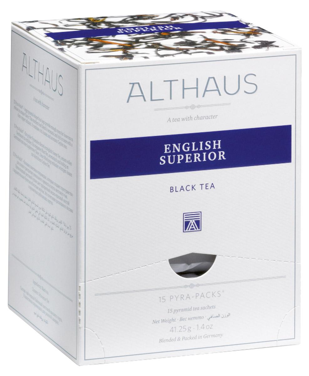Althaus English Superior чай черный в пирамидках, 15 штTALTHL-L00140Althaus English Superior - немного терпкий чай с едва заметным травяным привкусом, превосходно сбалансированный, объединяющий в себе легкую мармеладную кислинку, манящую сладость теплого бисквита и огненную нотку поджаренных хлебных злаков. Напиток дает насыщенный настой с золотистым отливом и красивым глянцевитым блеском, как у свежего гречишного меда. Яркий, сочный, но очень мягкий аромат, как воздух осеннего леса, дополняется ноткой пикантной сладости спелых фруктов. После добавления свежего молока запах этого чая напоминает аромат теплого тоста с медом. Pyra-Pack - это коллекция из 13 купажей, в которую вошли лучшие сорта высококачественного листового чая, а также отборные смеси из цельных кусочков фруктов, ягод, цветочных лепестков, целебных трав. Pyra-Pack представляет собой инновационный вариант высокотехнологичной упаковки - нейлоновые пирамидки: Пакетики в форме пирамидок создают пространство для свободного распределения...