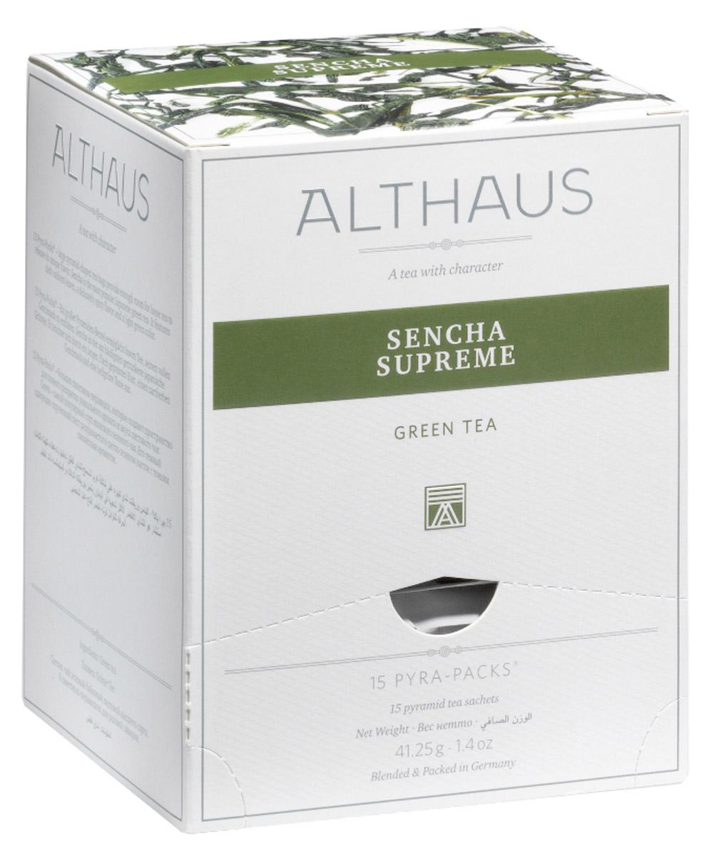 Althaus Sencha Supreme чай зеленый в пирамидках, 15 штTALTHL-L00143В чае Althaus Sencha Supreme легкие и миниатюрные, словно сосновые иголки, листочки источают нежный, но полный жизненной энергии аромат, в котором кроется приятная шелковистая сладость, приглушенные оттенки сухоцвета и свежесть зеленых бобовых стручков. Чаинки изящно танцуют в искрящемся настое светлого травянистого цвета, раскрываясь в необычном букете с воздушным морским запахом и минеральной горчинкой. Вкус этого чая удивляет: в нем мягкость сочетается с пронзительной зеленой нотой, глубокий и обволакивающий, как бархат, завершается он пряно-медовым послевкусием. Pyra-Pack - это коллекция из 13 купажей, в которую вошли лучшие сорта высококачественного листового чая, а также отборные смеси из цельных кусочков фруктов, ягод, цветочных лепестков, целебных трав. Pyra-Pack представляет собой инновационный вариант высокотехнологичной упаковки - нейлоновые пирамидки: Пакетики в форме пирамидок создают пространство для свободного распределения чаинок,...
