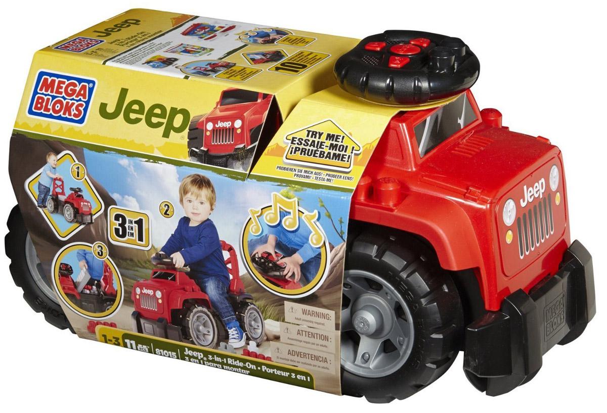 Mega Bloks First Builders Большой джип 3-в-1 цвет красныйDBL13Ваш маленький поклонник джипов может в поисках новых приключений прокатиться по бездорожью на легендарном Jeep-каталке 3 в 1 от Mega Bloks! Jeep 3-в-1 имеет узнаваемый дизайн и расцветку, а на руле у него находятся кнопки, имитирующие звуки настоящей машины, что делает впечатления от езды на этой машине незабываемыми. Наличие у сиденья высокой спинки позволяет превратить джип в тележку-ходунки, которую можно с легкостью толкать сзади. Под поднимающимся сиденьем находится отделение для хранения, куда можно положить все 10 блоков First Builders, имеющих традиционное для джипа оформление. Под сиденьем предусмотрено место для хранения неиспользуемых блоков и прочих предметов. Высокая спинка сиденья с ручками позволяет использовать Jeep 3-в-1 в качестве машинки для езды и в качестве ходунков. Идеально подходит для детей в возрасте от 1 до 3 лет.