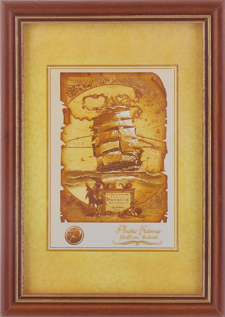 Фоторамка Pioneer Sandy, цвет: коричневый, золотистый, 10 см х 15 см6280 005G_коричневыйФоторамка Sandy выполнена в классическом стиле из натурального дерева и стекла, защищающего фотографию. Оборотная сторона рамки оснащена специальной ножкой, благодаря которой ее можно поставить на стол или любое другое место в доме или офисе. Также на изделие имеются два специальных отверстия для подвешивания. Такая фоторамка поможет вам оригинально и стильно дополнить интерьер помещения, а также позволит сохранить память о дорогих вам людях и интересных событиях вашей жизни.