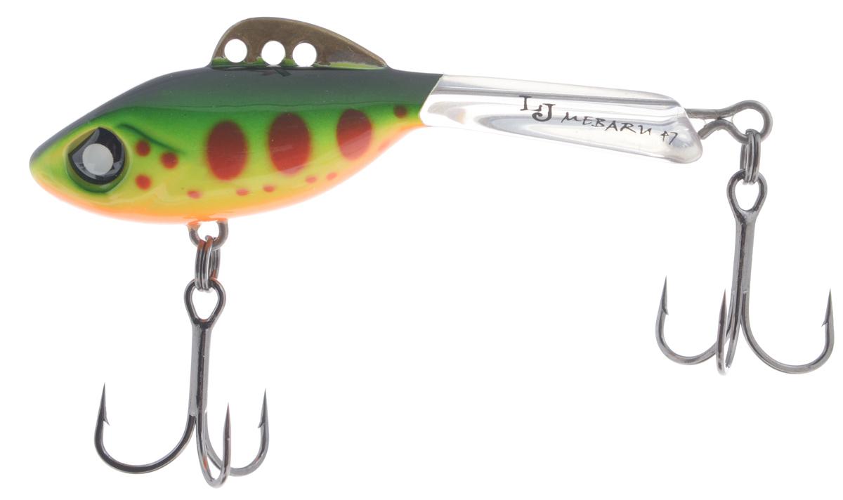 Балансир Lucky John Mebaru, цвет: зеленый, желтый, красный, 4,7 см, 8 гLJME47-201Lucky John Mebaru – балансир, разработанный в Японии, для ловли хищной рыбы со льда и в отвес с дрейфующей лодки. Приманка изготовлена из свинцового сплава с корпусом и хвостом, сформированными из цельного морозостойкого и ударопрочного пластика ABS. Длинный хвост обеспечивает четкие развороты приманки в крайних точках траектории движения. В спинном плавнике, изготовленном из латуни, имеется три отверстия. В зависимости от точки крепления, игра приманки изменяется. На приманке установлены крючки Owner. Рекомендуется для ловли судака, щуки, форели и окуня.