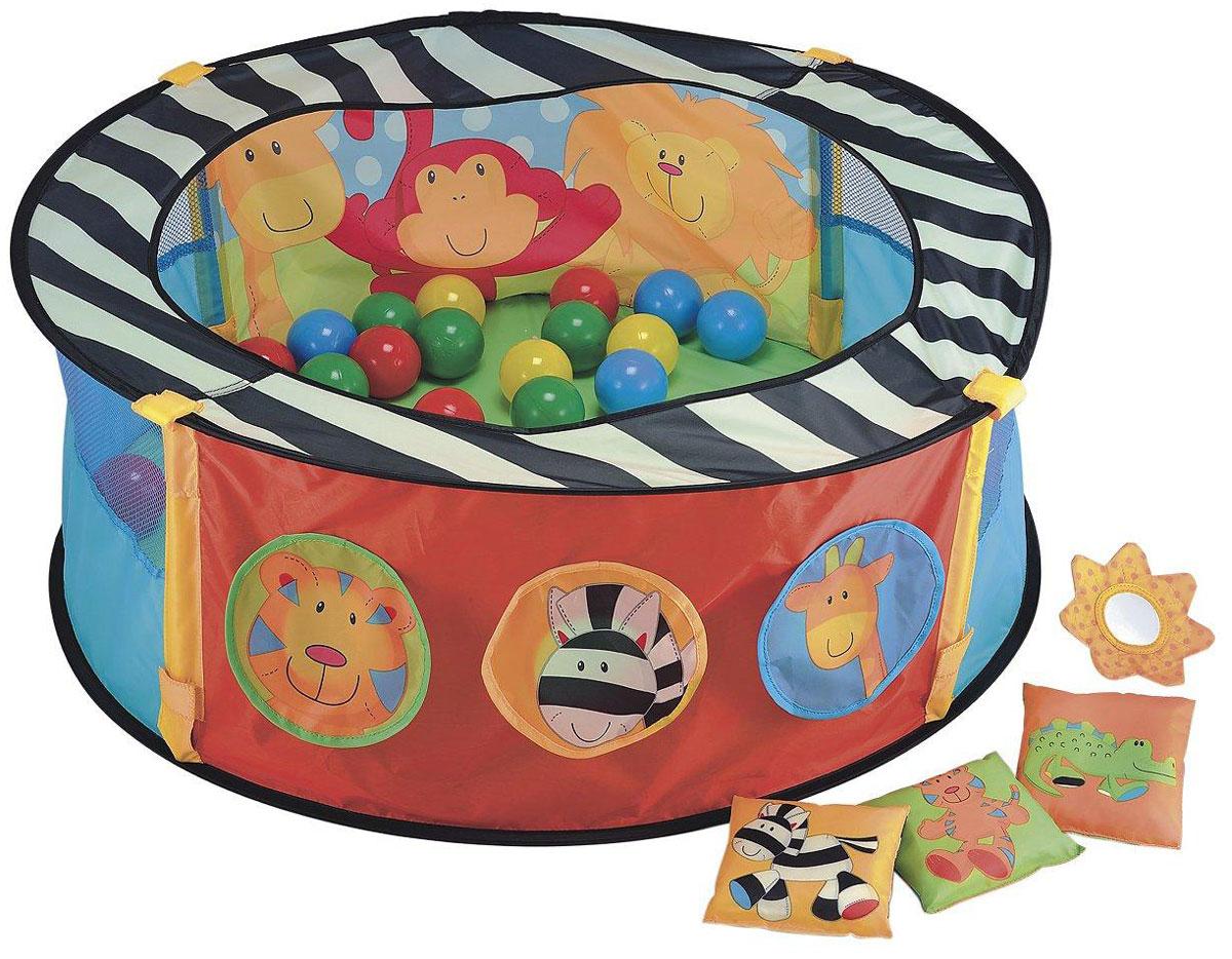 ELC Игровой манеж с шарами130952Игровой манеж ELC непременно заинтересует малышей и подарит им море радости и положительных эмоций. В комплект с манежем входят игровые шары, игровые мешочки разные по фактуре и безопасное зеркальце. Изделие изготовлено из водостойкого материала и выполнена в черном, белом и красном цветах, которые считаются высококонтрастными, что отлично стимулирует развитие органов зрения. В стенках манежа имеются отверстия, куда можно забрасывать шары, с которыми ребенку будет весело играть, при этом у него развиваются тактильные ощущения, цветовосприятие и координация. Пока малыш весело играет на ярком и красочном манеже, мама может заняться своими делами. Ребенок может лежать, ползать в манеже, изучать себя в зеркале, смотреть и трогать игрушки. Малыш всегда будет видеть свою маму, а мама, в свою очередь, будет видеть, чем занимается ее ребенок.