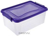 Контейнер для хранения Idea, прямоугольный, цвет: прозрачный, фиолетовый, 25 лМ 2867Контейнер 25л для хранения прямоугольный, Прозрачный