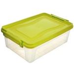 Контейнер для хранения Idea, прямоугольный, цвет: прозрачный, салатовый, 25 лМ 2867Контейнер 25л для хранения прямоугольный, Прозрачный