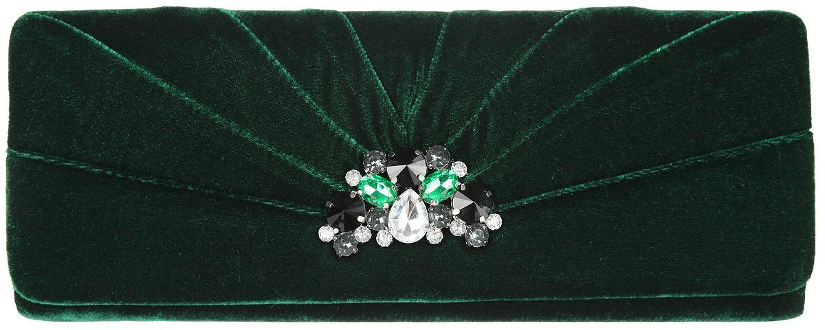 Клатч женский Eleganzza, цвет: темно-зеленый. ZZ-10118ZZ-10118Стильный женский клатч Eleganzza выполнен из бархатного текстиля. Изделие содержит одно отделение, закрывающееся на клапан с магнитными кнопками. Клапан оформлен декоративным элементом со вставками из стекла. Внутри имеется открытый накладной карман. Модель оснащена плечевым ремнем в виде цепочки. Роскошный клатч внесет элегантные нотки в ваш образ и подчеркнет ваше отменное чувство стиля.