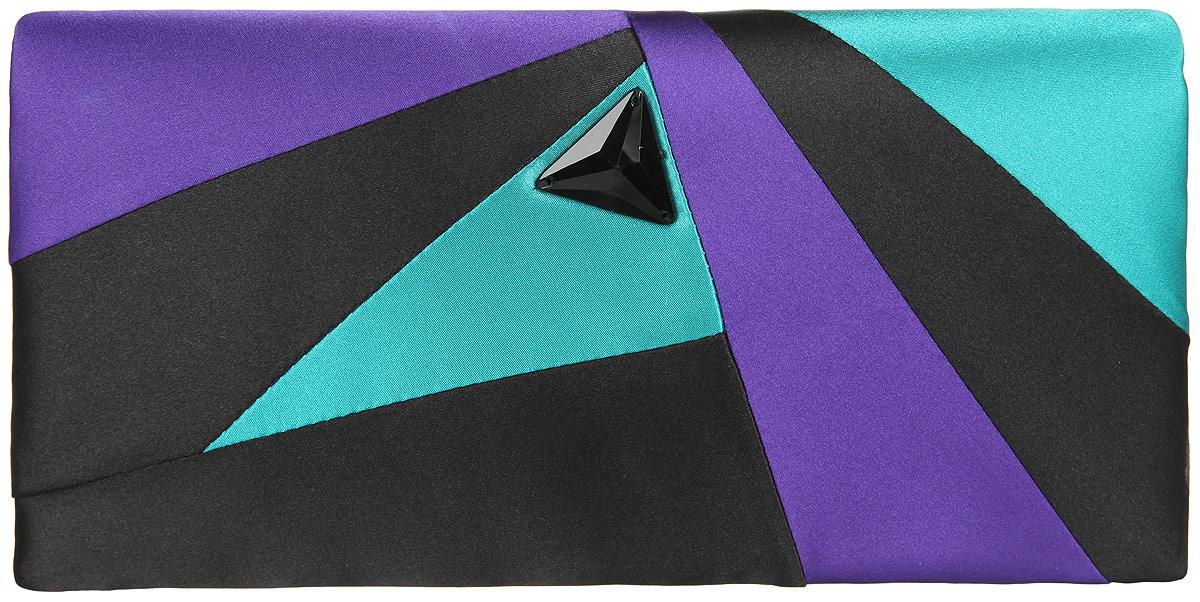 Клатч женский Eleganzza, цвет: черный, фиолетовый, бирюзовый. ZZ-13170ZZ-13170Стильный женский клатч Eleganzza выполнен из полиэстера. Изделие имеет одно основное отделение, внутри которого имеется открытый накладной карман. Закрывается клатч на клапан с магнитной кнопкой. Клапан оформлен декоративным элементом из пластика. Модель оснащена плечевым ремнем в виде цепочки. Роскошный клатч внесет элегантные нотки в ваш образ и подчеркнет ваше отменное чувство стиля.