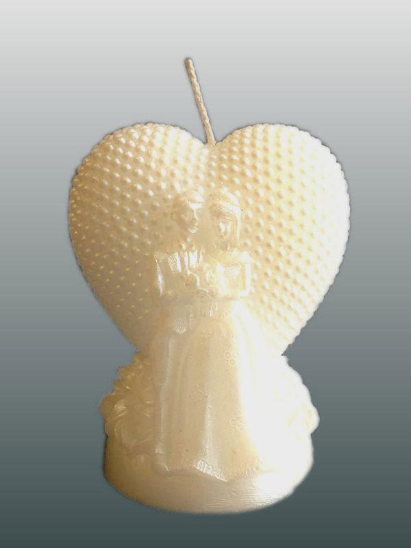 Свеча декоративная Принт Торг Свадебная малая №3, цвет: белый, высота 8 см69.003Свеча декоративная Принт Торг Свадебная малая №3 выполнена из парафина белого цвета в форме сердца с фактурной поверхностью. Свеча будет вас радовать и достойно украсит интерьер. Вы можете поставить свечу в любом месте, где она будет удачно смотреться и радовать глаз. Кроме того, эта свеча - отличный вариант подарка для ваших близких и друзей.