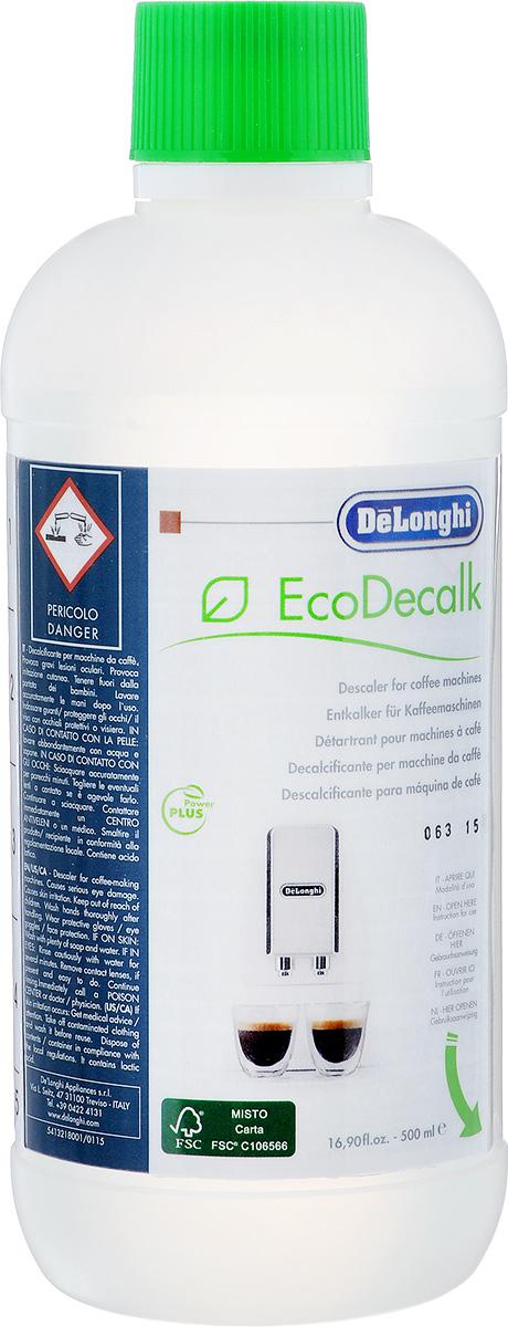 Антинакипин DeLonghi Eco Decalk для автоматических кофемашин, 500 мл5513296051Эффективное средство DeLonghi Eco Decalk предназначено для удаления накипи в кофемашинах. С помощью этого средства очень легко поддерживать все устройства в отличном состоянии. Антинакипин - это регулярная очистка приборов от накипи, а это значит можно значительно продлить их срок службы, сохранить детали в рабочем состоянии и обеспечить более низкий расход электроэнергии. Средство DeLonghi Eco Decalk полностью безопасно для электроприборов, но его необходимо использовать только в соответствии с инструкциями к технике. Жидкость не оставляет постороннего вкуса или запаха на стенках устройств, поэтому чай и кофе будут по-прежнему иметь свой собственный неповторимый аромат. Товар сертифицирован.