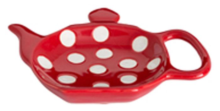 Подставка для чайных пакетиков Dexam, цвет: красный, белый, 12 см х 8,7 см х 0,9 см17851055Подставка Dexam, изготовленная из керамики, порадует вас оригинальностью и дизайном. Подставка выполнена в форме чайничка и оформлена рисунком в горошек. С помощью такого блюдца для чайных пакетиков ваша столешница останется чистой.