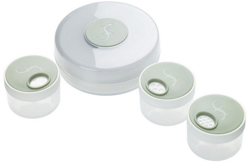 Мельница для специй Lurch, с солонками, 4 предмета210115Практичная мельница для специй Lurch изготовлена из высококачественного пищевого пластика. С ее помощью можно быстро смолоть любые специи для ваших блюд. В комплект входят 3 солонки для заполнения измельченных специй. Они оснащены специальными отверстиями для заполнения и высыпания приправ. Оригинальная мельница модного дизайна будет отлично смотреться на вашей кухне. Порадуйте себя и своих близких качественным и функциональным подарком. Размер мельницы: 9,5 см х 9,5 см х 3,5 см. Размер солонки (с учетом крышки): 5 см х 5 см х 3,5 см. Диаметр солонки (по верхнему краю): 4,2 см.