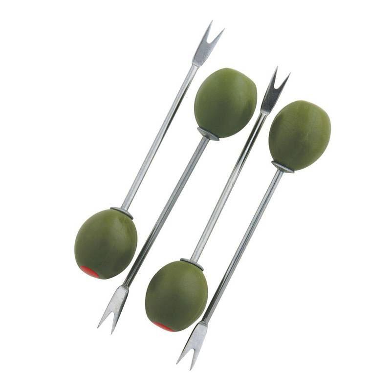 Набор шпажек для оливок Dexam, 4 шт17841078Набор Dexam, выполненный из высококачественной стали и пластика, состоит из четырех шпажек для канапе и оливок. Рукоятки шпажек декорированы фигурками в виде срезанной оливки. Эксклюзивный дизайн, эстетичность и функциональность набора позволят ему занять достойное место среди кухонного инвентаря, а сервировка праздничного стола таким набором станет великолепным украшением любого торжества. Длина шпажки: 9,5 см.