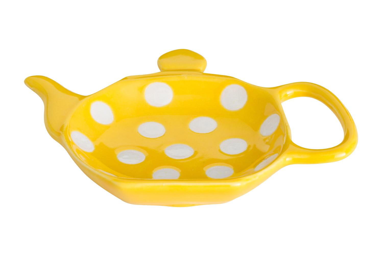 Подставка для чайных пакетиков Dexam, цвет: желтый, белый, 12 см х 8,7 см х 0,9 см17851057Подставка Dexam, изготовленная из керамики, порадует вас оригинальностью и дизайном. Подставка выполнена в форме чайничка и оформлена рисунком в горошек. С помощью такого блюдца для чайных пакетиков ваша столешница останется чистой.