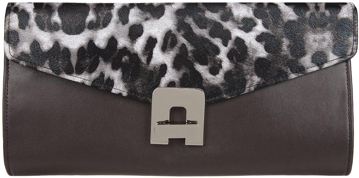 Клатч женский Eleganzza, цвет: коричневый, черный, белый. ZZ-12015ZZ-12015Стильный женский клатч Eleganzza выполнен из искусственной кожи. Изделие имеет одно основное отделение, внутри которого имеется открытый накладной карман. Закрывается клатч на клапан с поворотным замком. Клапан оформлен анималистическим принтом и фактурным тиснением. Модель оснащена съемным плечевым ремнем. Роскошный клатч внесет элегантные нотки в ваш образ и подчеркнет ваше отменное чувство стиля.