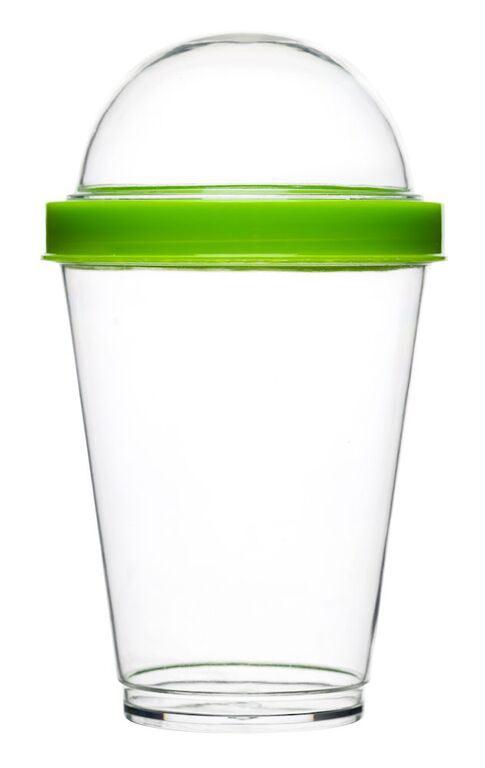 Кружка для йогурта Sagaform Fresh, с крышкой, цвет: прозрачный, зеленый, 300 мл5016699Кружка для йогурта Sagaform Fresh изготовлена из высококачественного пластика. Она удобна и проста в использовании. Изделие снабжено крышкой со специальным контейнером для любимых добавок, благодаря которой йогурт можно без сомнений хранить в холодильнике или взять с собой на пикник. Диаметр кружки (по верхнему краю): 8 см. Высота стенки (без учета крышки): 11,2 см. Размер контейнера: 7 см х 7 см х 4 см.
