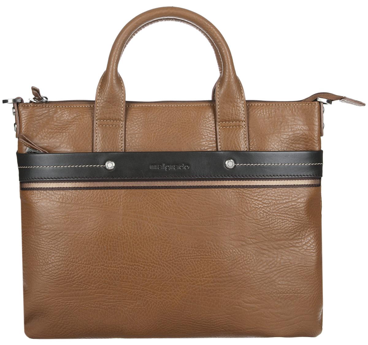 Сумка мужская Malgrado, цвет: светло-коричневый, коричневый. BR09-318B4932BR09-318B4932Стильная мужская сумка Malgrado выполнена из натуральной кожи с зернистой фактурой, оформлена металлической фурнитурой с символикой бренда и контрастной строчкой. Сумка содержит одно отделение, которое закрывается на застежку-молнию. Внутри изделия расположены врезной карман на застежке-молнии и органайзер, состоящий из трех кармашков для кредитных карт, двух накладных карманов и двух кожаных фиксаторов для письменных принадлежностей. Снаружи, на задней стороне сумки, расположен накладной карман на магнитной кнопке. Лицевая сторона сумки дополнена мягким накладным карманом на молнии. Сумка оснащена двумя практичными ручками и съемным плечевым ремнем регулируемой длины, которые позволят носить изделие, как в руках, так и на плече. Практичный аксессуар позволит вам завершить образ и подчеркнуть деловой стиль.
