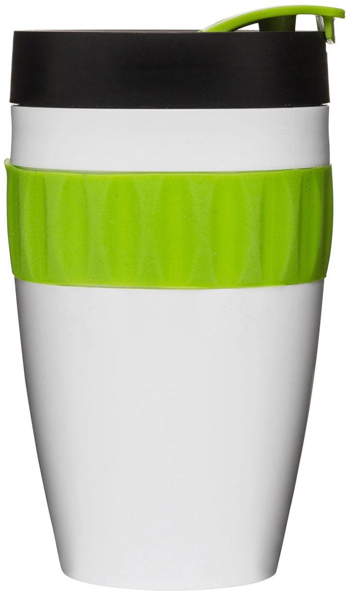 Термокружка Sagaform Cafe, цвет: белый, черный, зеленый, 400 мл5017153Яркая и оригинальная термокружка Sagaform– это полезный аксессуар в долгой дороге. Изделие выполнено из высококачественного пластика и оснащено удобной крышкой с закрывающимся клапаном для питья. Вы можете взять с собой любой напиток, чтобы при необходимости утолить жажду или просто насладиться его прекрасным вкусом. Герметичная, удобная и стильная кружка идеальна в качестве презента. Диаметр (по верхнему краю): 7 см. Диаметр основания: 4,6 см. Высота термокружки: 13,5 см.