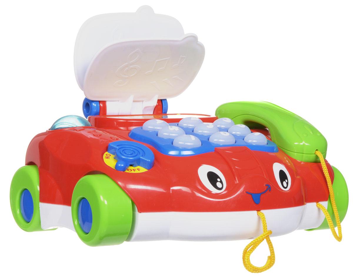 Joy Toy Каталка Телефончик на колесах1103402_красныйКаталка Joy Toy Телефон на колесах надолго привлечет внимание малыша. Яркая игрушка со световыми и звуковыми эффектами выполнена в виде телефона с различные функциями. Телефончик на колесах можно катать за веревочку, что будет стимулировать малыша ходить и окажет положительное влияние на развитие координации. Игрушка помогает малышам освоить счет и цифры. При нажатии кнопка с цифрой подсвечиваются, телефончик озвучивает цифру и проигрывает мелодию. Порадуйте вашего ребенка таким замечательным подарком! Необходимо докупить 2 батарейки напряжением 1,5V типа АА (не входят в комплект).