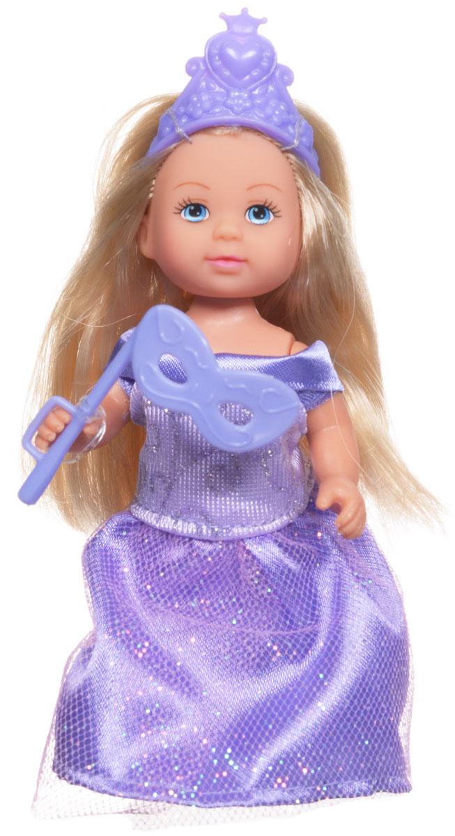 Simba Мини-кукла Еви Принцесса цвет сиреневый5733460_сиреневыйМини-кукла Simba Еви-принцесса порадует любую девочку и позволит ей окунуться в сказочный мир волшебства. Малышка Еви одета в длинное платье принцессы, украшенное блестками, а на голове у нее - изящная тиара. Вашей дочурке непременно понравится заплетать длинные белокурые волосы куклы, придумывая разнообразные прически. В комплект также входит маскарадная маска для куклы. Руки, ноги и голова куклы подвижны, благодаря чему ей можно придавать разнообразные позы. Игры с куклой способствуют эмоциональному развитию, помогают формировать воображение и художественный вкус, а также разовьют в вашей малышке чувство ответственности и заботы. Великолепное качество исполнения делают эту куколку чудесным подарком к любому празднику.